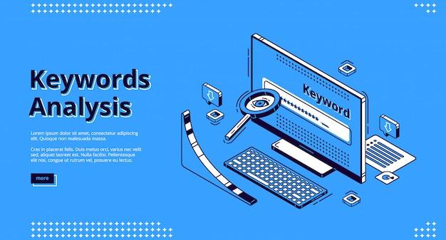 Página de destino isométrica da ferramenta de análise de palavras-chave Vetor grátis
