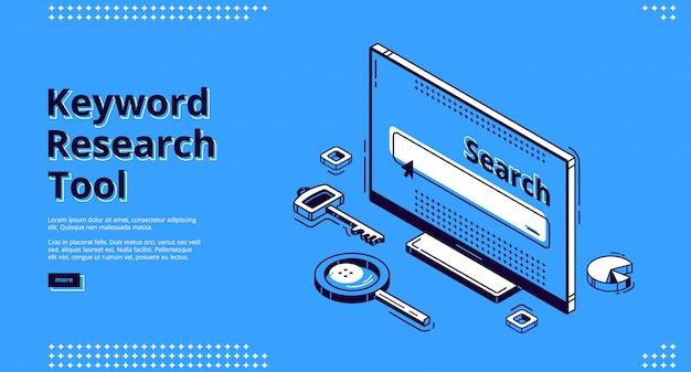 Página de destino isométrica da ferramenta de pesquisa de palavras-chave. Vetor grátis