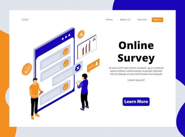 Página de destino isométrica da pesquisa on-line Vetor Premium