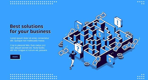 Página de destino isométrica das melhores soluções de negócios, empresário procurando uma maneira de alcançar a meta através do labirinto, funcionário tenta passar pelo labirinto, desafio superando objetivo alcançar arte de linha 3d web banner Vetor grátis