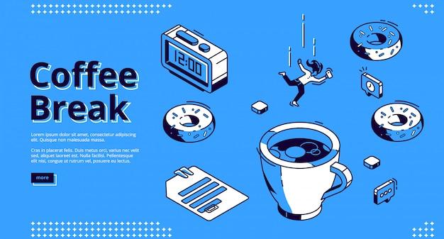 Página de destino isométrica de coffee-break, café da manhã Vetor grátis