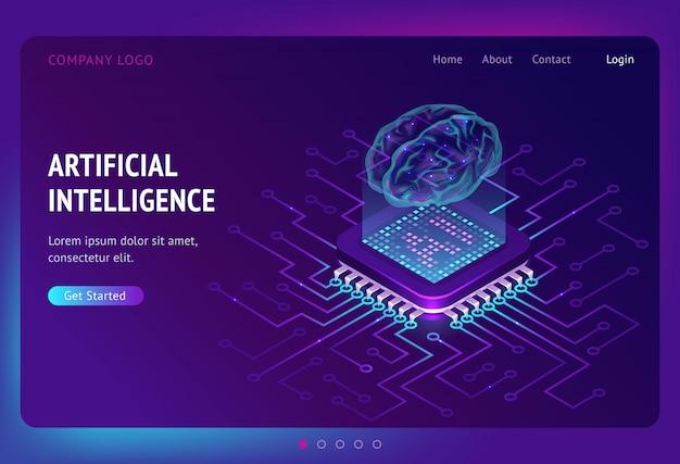 Página de destino isométrica de inteligência artificial ai Vetor grátis