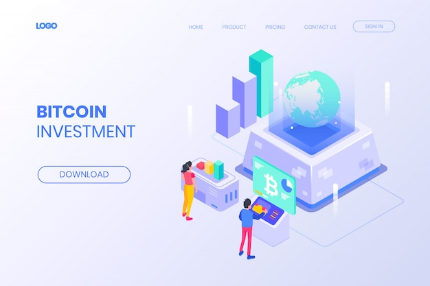 Página de destino isométrica de investimento em bitcoin Vetor Premium