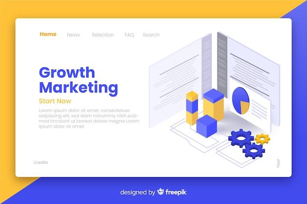 Página de destino isométrica de marketing de crescimento Vetor grátis