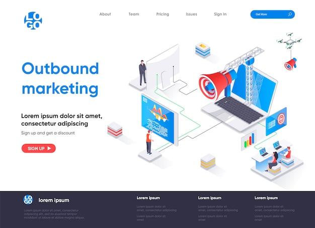 Página de destino isométrica de marketing de saída Vetor Premium