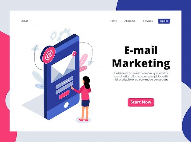 Página de destino isométrica de marketing por email Vetor Premium