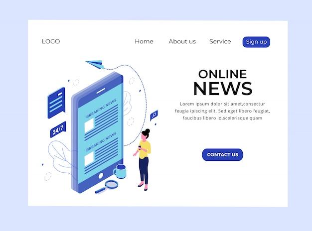 Página de destino isométrica de notícias on-line Vetor Premium