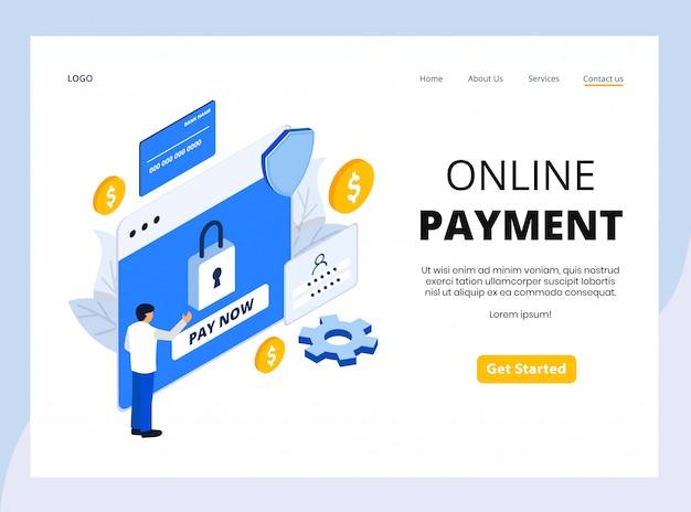 Página de destino isométrica de pagamento on-line Vetor Premium