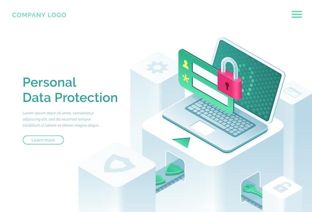 Página de destino isométrica de proteção de dados pessoais Vetor grátis