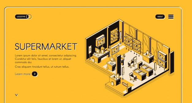 Página de destino isométrica de supermercado vazio loja interior Vetor grátis