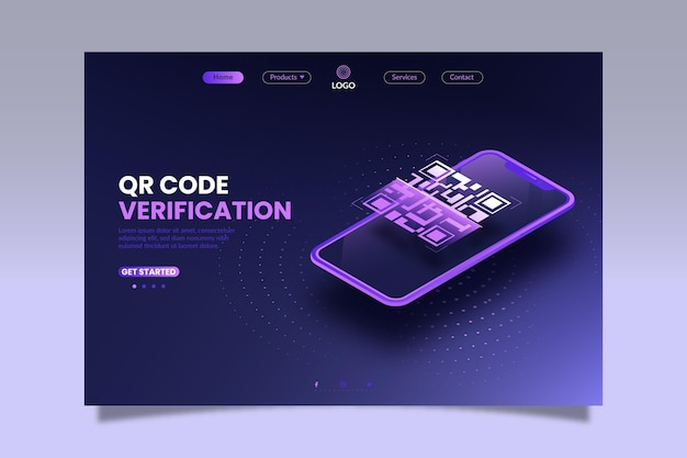 Página de destino isométrica de verificação de código qr Vetor Premium