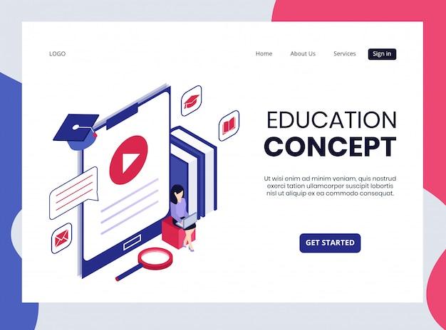 Página de destino isométrica do conceito de educação Vetor Premium