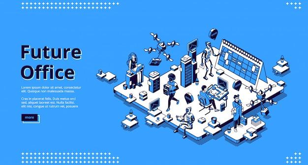 Página de destino isométrica do futuro escritório. robôs humanos e ai trabalham juntos. Vetor grátis