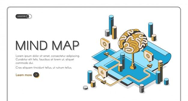 Página de destino isométrica do mapa mental Vetor grátis