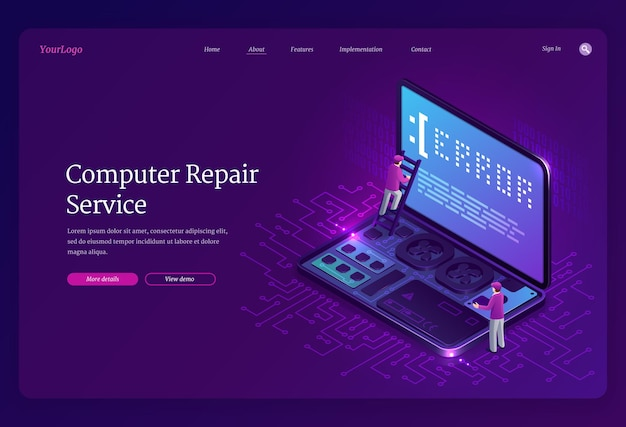 Página de destino isométrica do serviço de conserto de computadores Vetor grátis