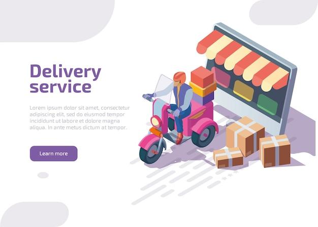Página de destino isométrica do serviço de entrega. Vetor grátis