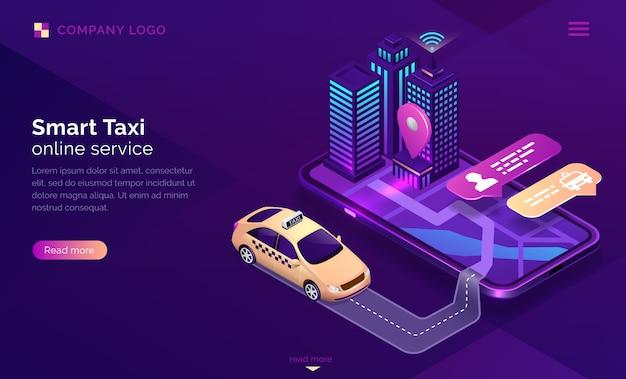 Página de destino isométrica do serviço online de táxi inteligente Vetor grátis