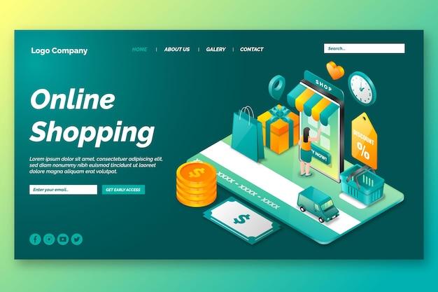 Página de destino on-line de compras isométrica Vetor grátis