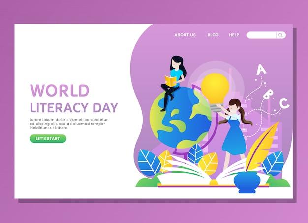 Página de destino ou modelo da web. dia mundial da alfabetização com leitura de mulher Vetor Premium
