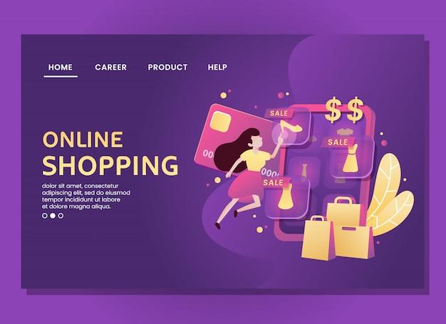 Página de destino ou modelo da web. mulher faz compras on-line virtuais Vetor Premium
