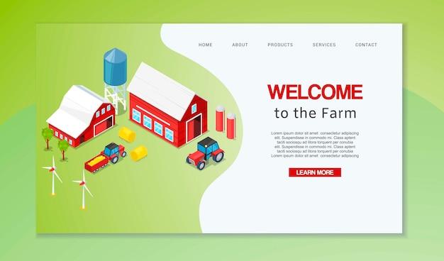 Página de destino ou modelo da web para a página da agricultura. bem-vindo à casa dos agricultores. Vetor Premium