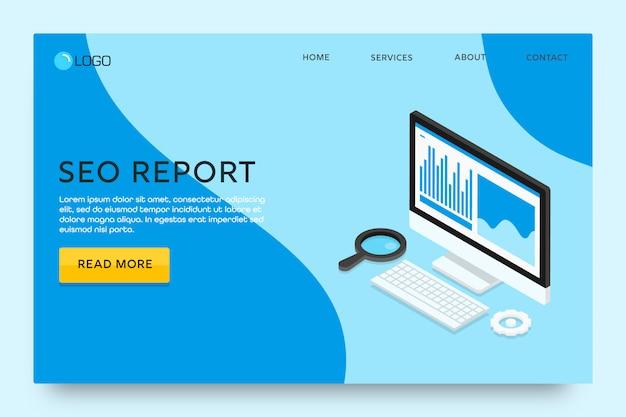 Página de destino ou modelo de web design. relatório seo Vetor Premium