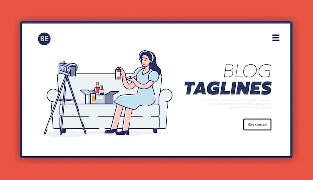 Página de destino para a interface do blog de beleza com a blogueira feminina filmando novo vídeo para o canal com novos cosméticos unboxing Vetor Premium