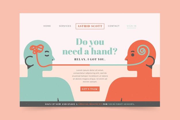 Página de destino para ajuda psicológica Vetor grátis