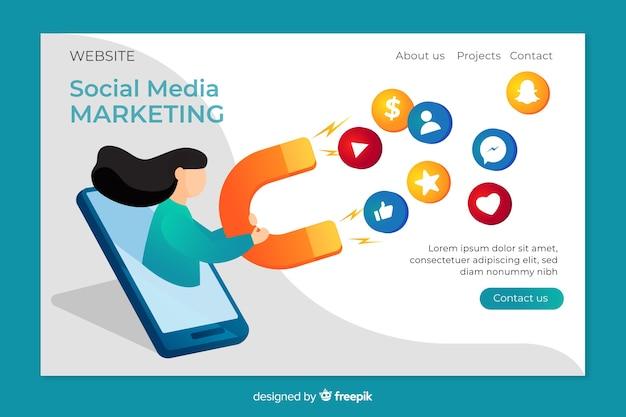Página de destino para marketing Vetor grátis