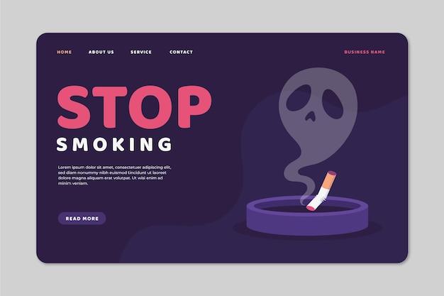 Página de destino para parar de fumar Vetor Premium