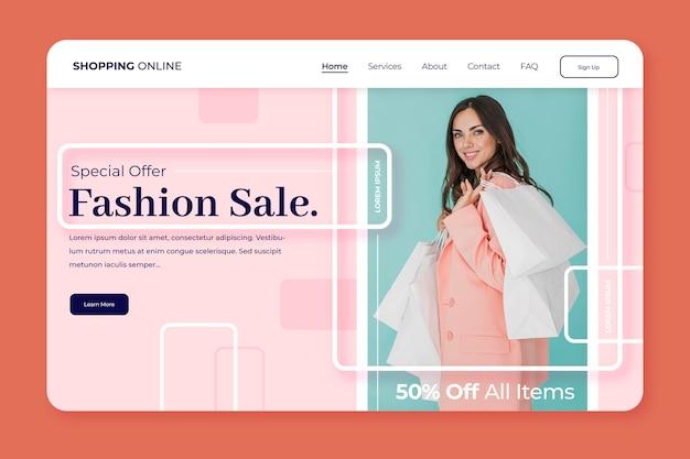 Página de destino para venda de moda Vetor grátis