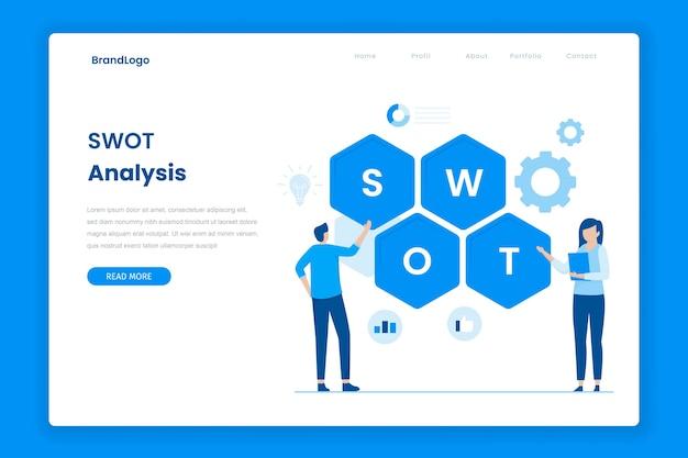 Página de destino plana de análise swot Vetor Premium