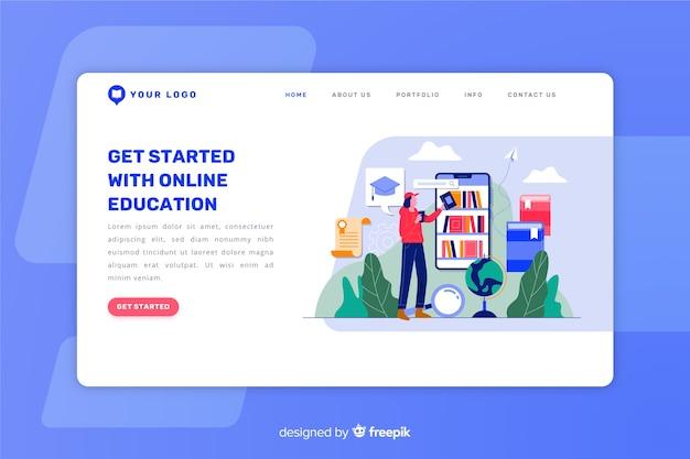 Página de destino plana de conceito de aprendizagem Vetor grátis
