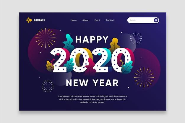 Página de destino plana do ano novo Vetor grátis