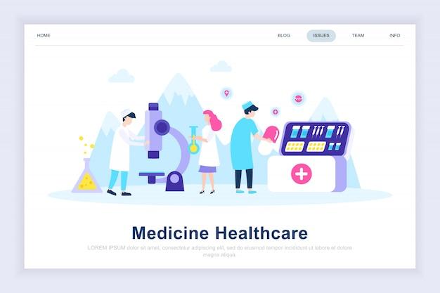 Página de destino plana moderna de medicina e saúde Vetor Premium