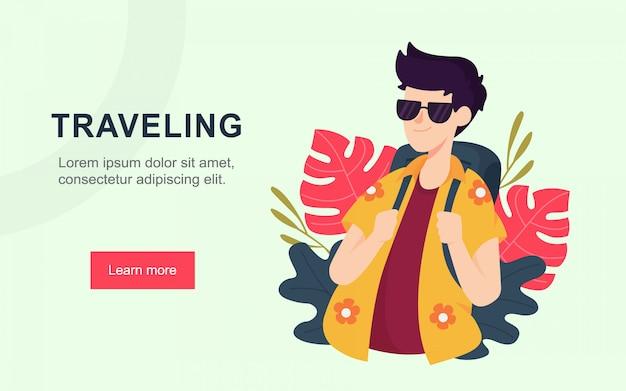 Página de destino plana moderna de viajar Vetor Premium