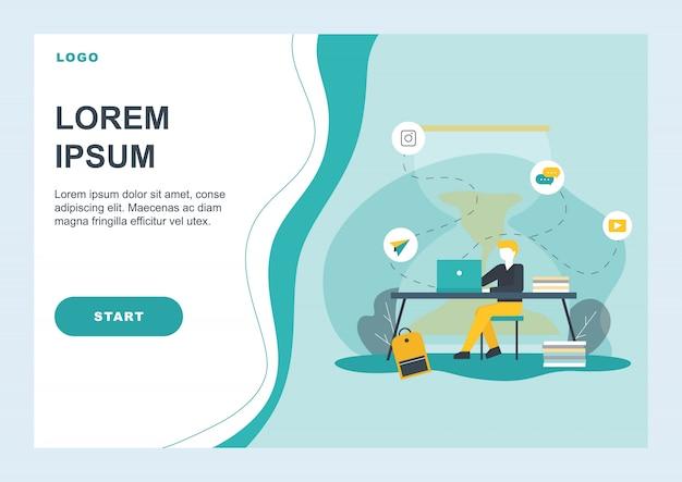 Página de destino plana promovendo gerenciamento eficiente Vetor Premium