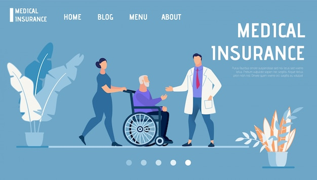 Página de destino promove seguro médico e de saúde Vetor Premium