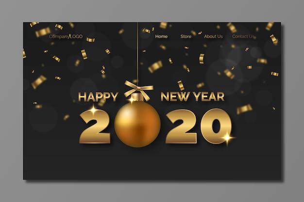 Página de destino realista de ano novo Vetor grátis