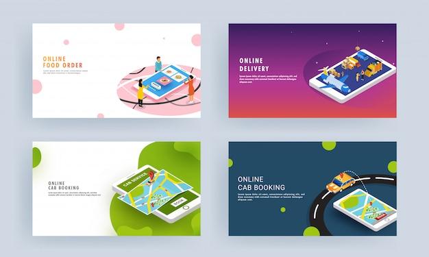 Página de destino responsiva definida com pedido de comida on-line, reserva de táxi e aplicativo de serviço de entrega no smartphone. Vetor Premium