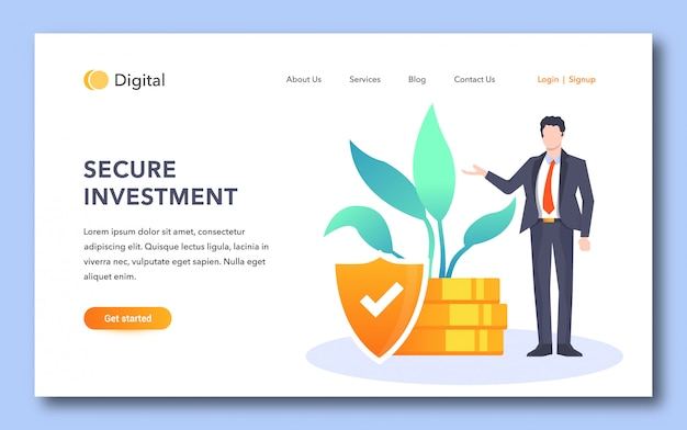 Página de destino segura para investidores Vetor Premium