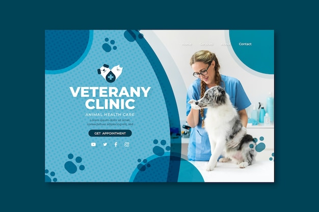 Página de destino veterinária Vetor Premium