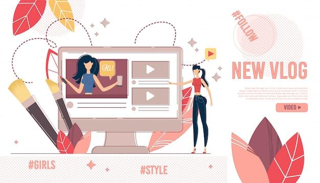 Página de destino visualização de conteúdo de vídeo de compras e moda Vetor Premium