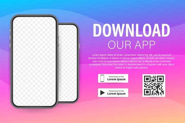 Página de download do aplicativo móvel. smartphone com tela vazia para seu aplicativo. baixar aplicativo. Vetor Premium
