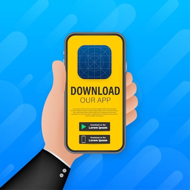 Página de download do aplicativo móvel. smartphone de tela vazia para seu aplicativo. baixar aplicativo. ilustração Vetor Premium