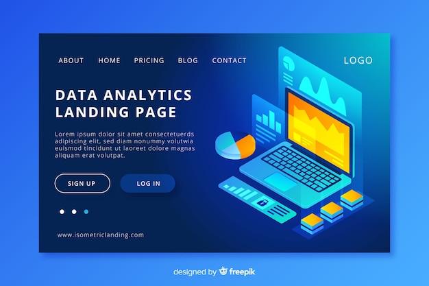 Página de entrada de análise de dados Vetor grátis