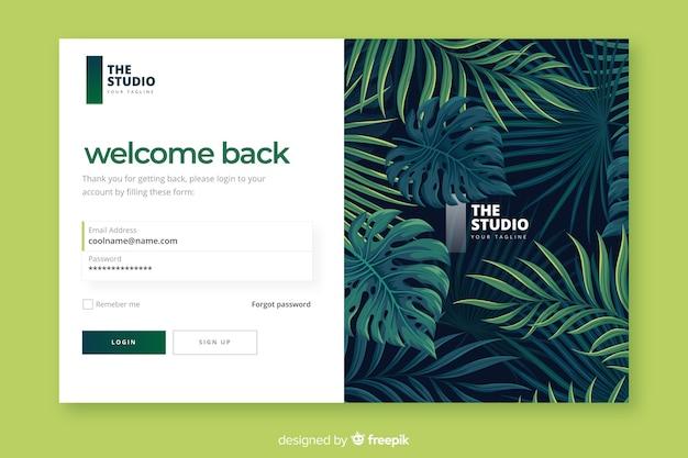 Página de entrada de folhagem tropical Vetor grátis