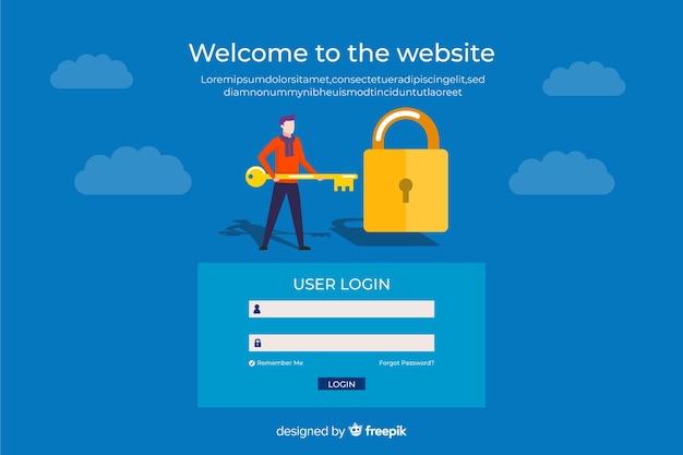 Página de entrada de login do usuário Vetor grátis