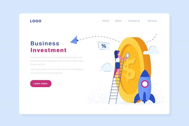 Página de entrada do website de vetor de investimento de inicialização Vetor Premium