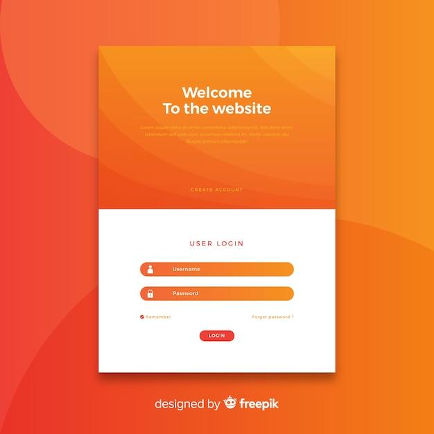 Página de entrada laranja de logon Vetor grátis